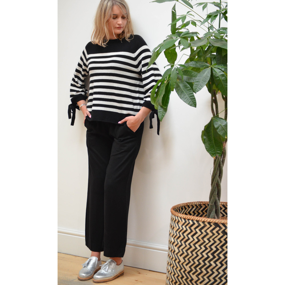 Velvet Cacey Stripe Knit Cashmere Jumper Black/White