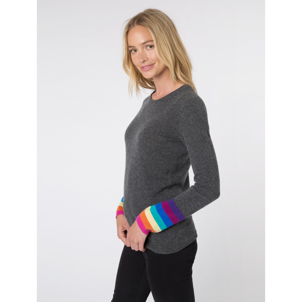 Wyse London Ines Rainbow Cuff Knit Charcoal