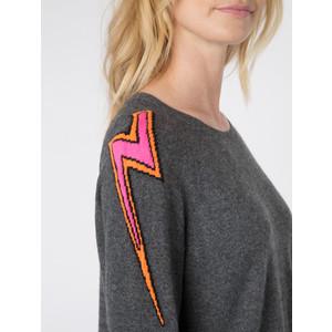 Wyse London Esme Lightening Knit Charcoal/Orange/Pink