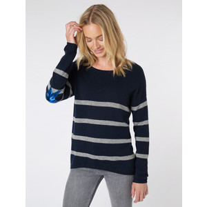 Marielle Stripe Knit Star Elbow Patches Navy/Grey