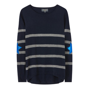 Wyse London Marielle Stripe Knit Star Elbow Patches Navy/Grey