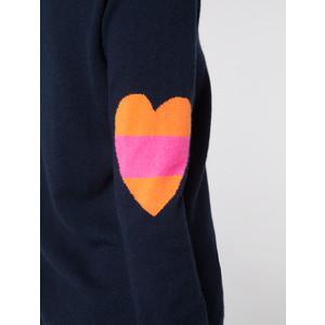 Wyse London Ines Fluro Heart Knit Navy/Orange/Pink