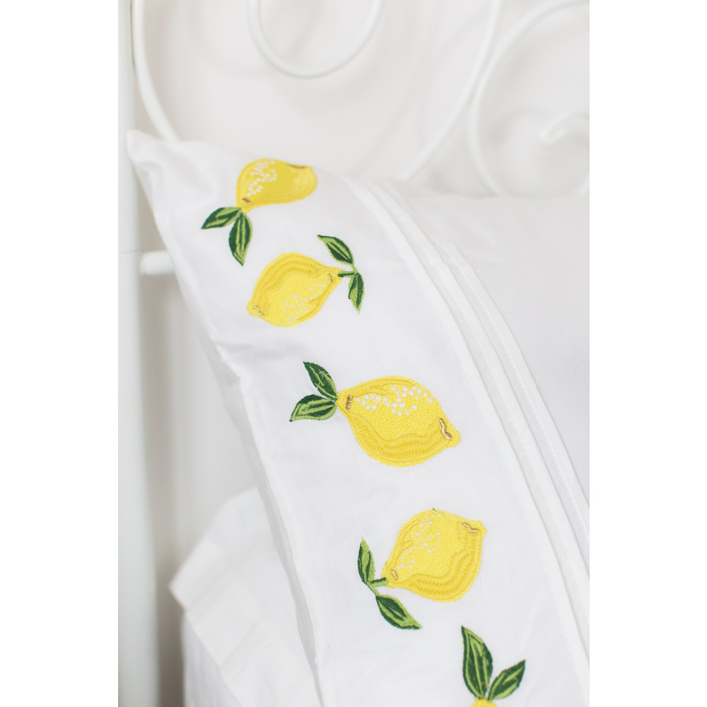 Elizabeth Scarlett Lemon Cotton Pillow Cases - 2 Pack White