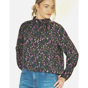 Lollys Laundry Honda Sheer Blouse with Keyhole Back Floral Multi
