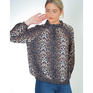 Honda Sheer Blouse with Keyhole Back Leopard