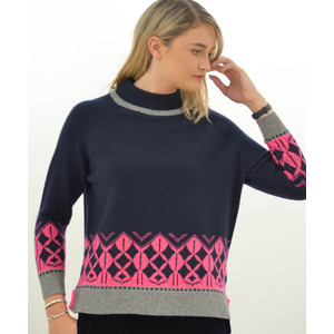 Jumper 1234 Nordic Roll Knit Navy/Mid Grey