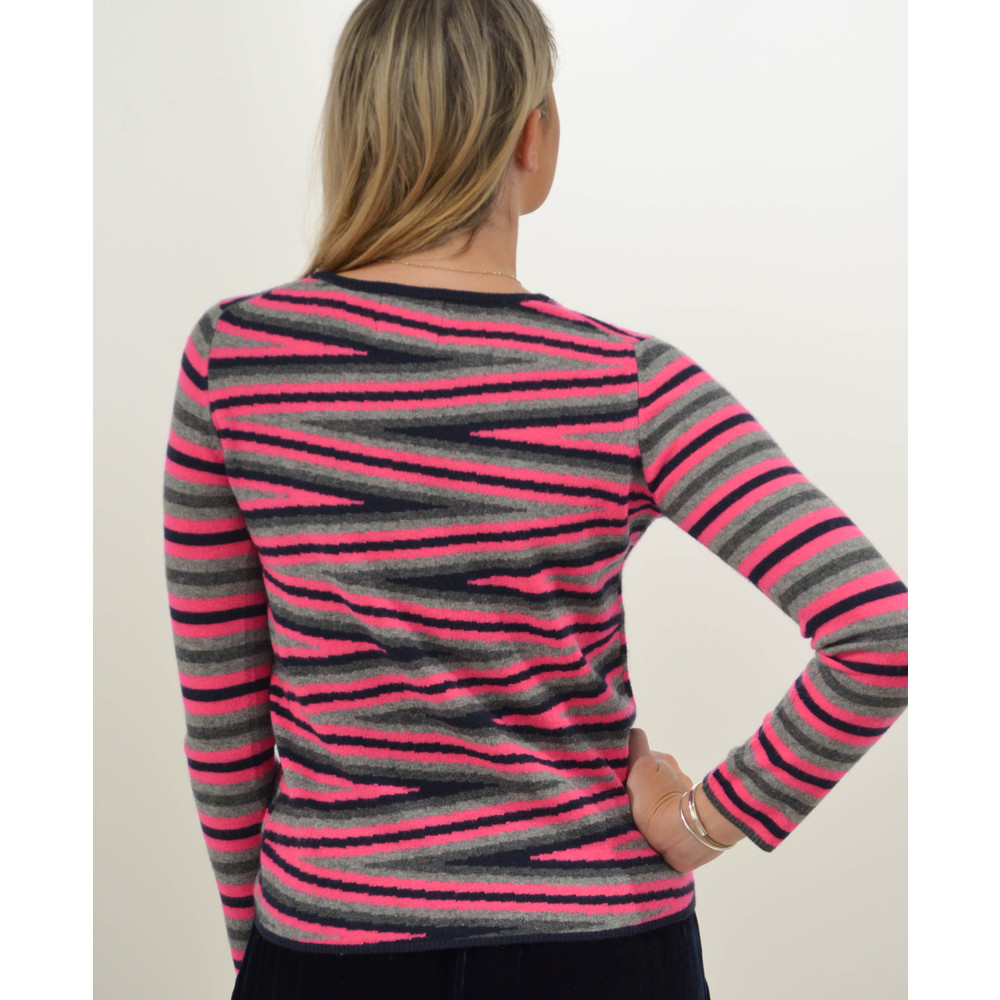 Jumper 1234 Miss Stripe Crew Knit Jumper Navy/Neon Pink