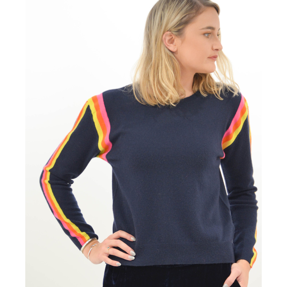 Jumper 1234 Racing Stripe Knit Boyfriend Fit Jumper Navy/Neon Pink