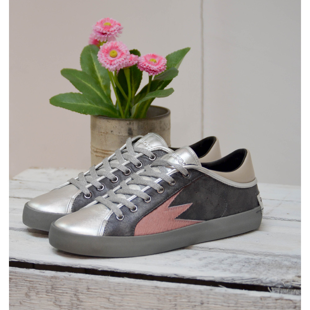 Crime London Faith Lo Trainer with Metallic Tongue Charcoal/Pink