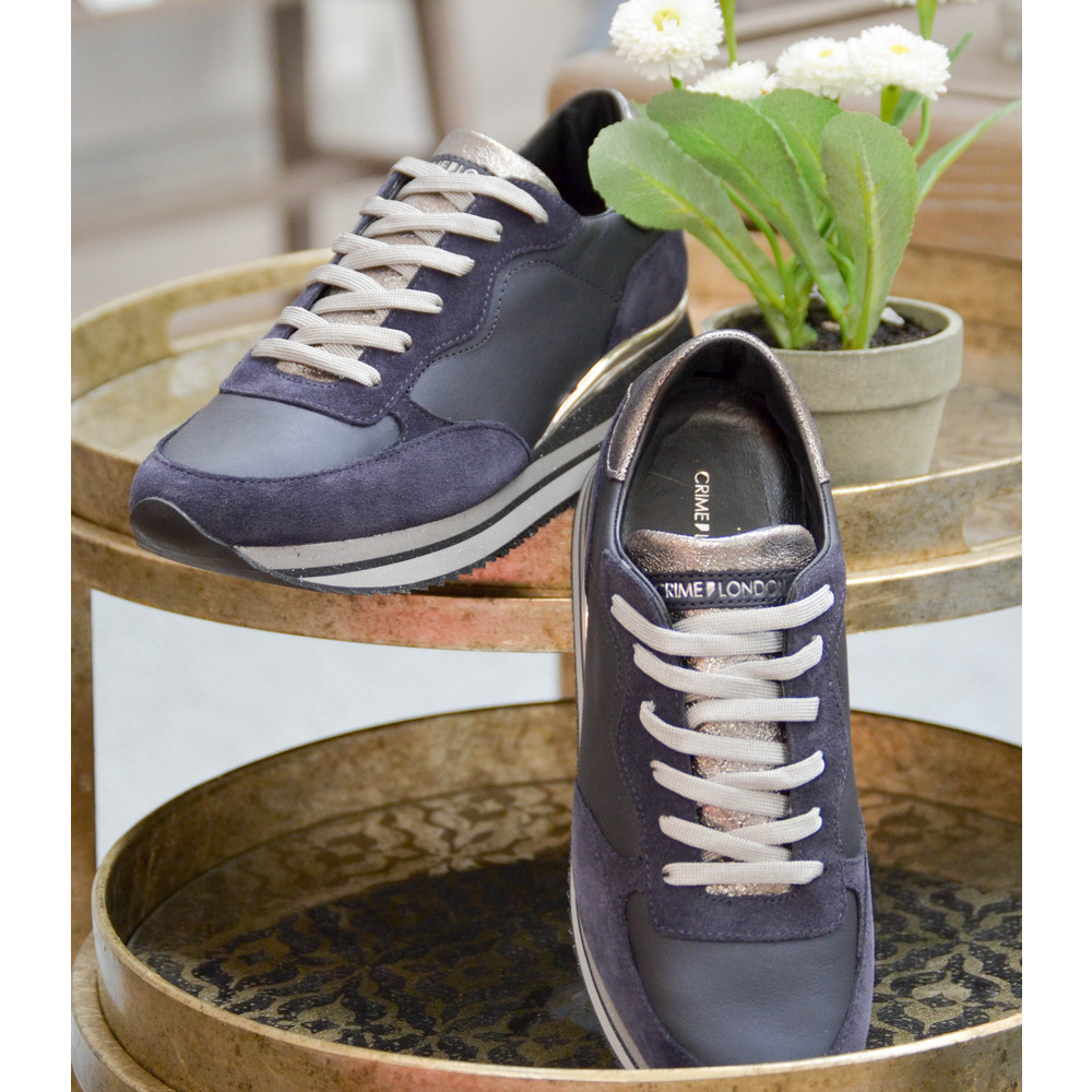 Crime London Dynamic Trainer Navy/Silver