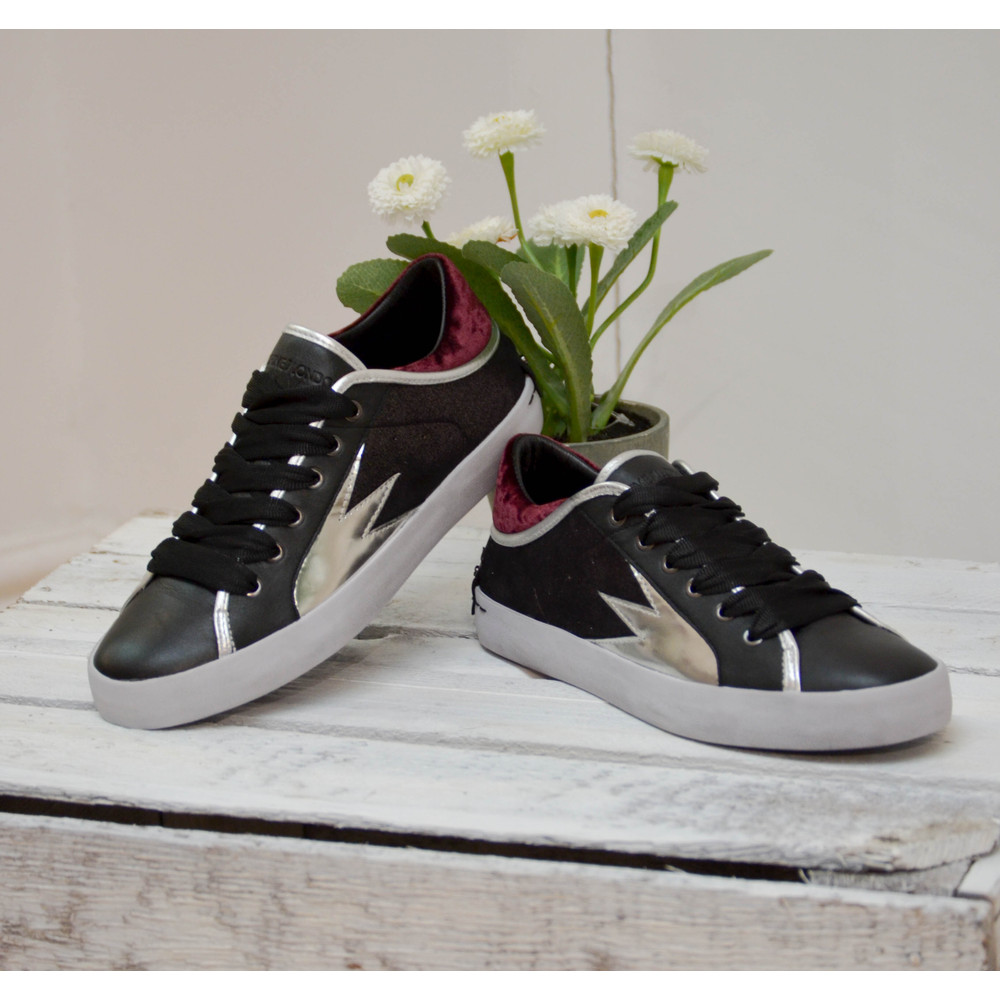 Crime London Faith Lo Trainer with Metallic Detail Black/Silver/Burgundy