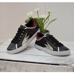 Faith Lo Trainer with Metallic Detail Black/Silver/Burgundy