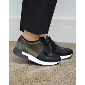 Emb/Glitter Trainer Stretch Strap Military