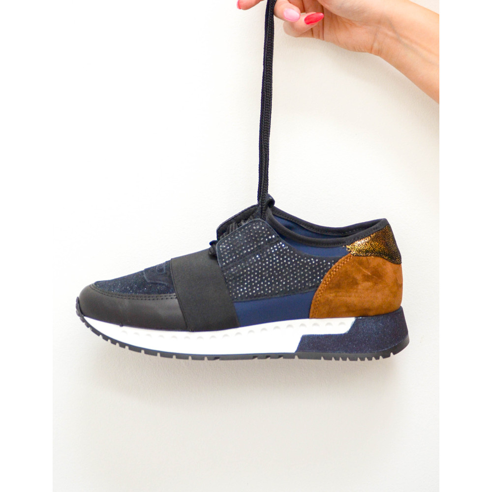 Alpe Emb/Glitter Trainer Stretch Strap Navy
