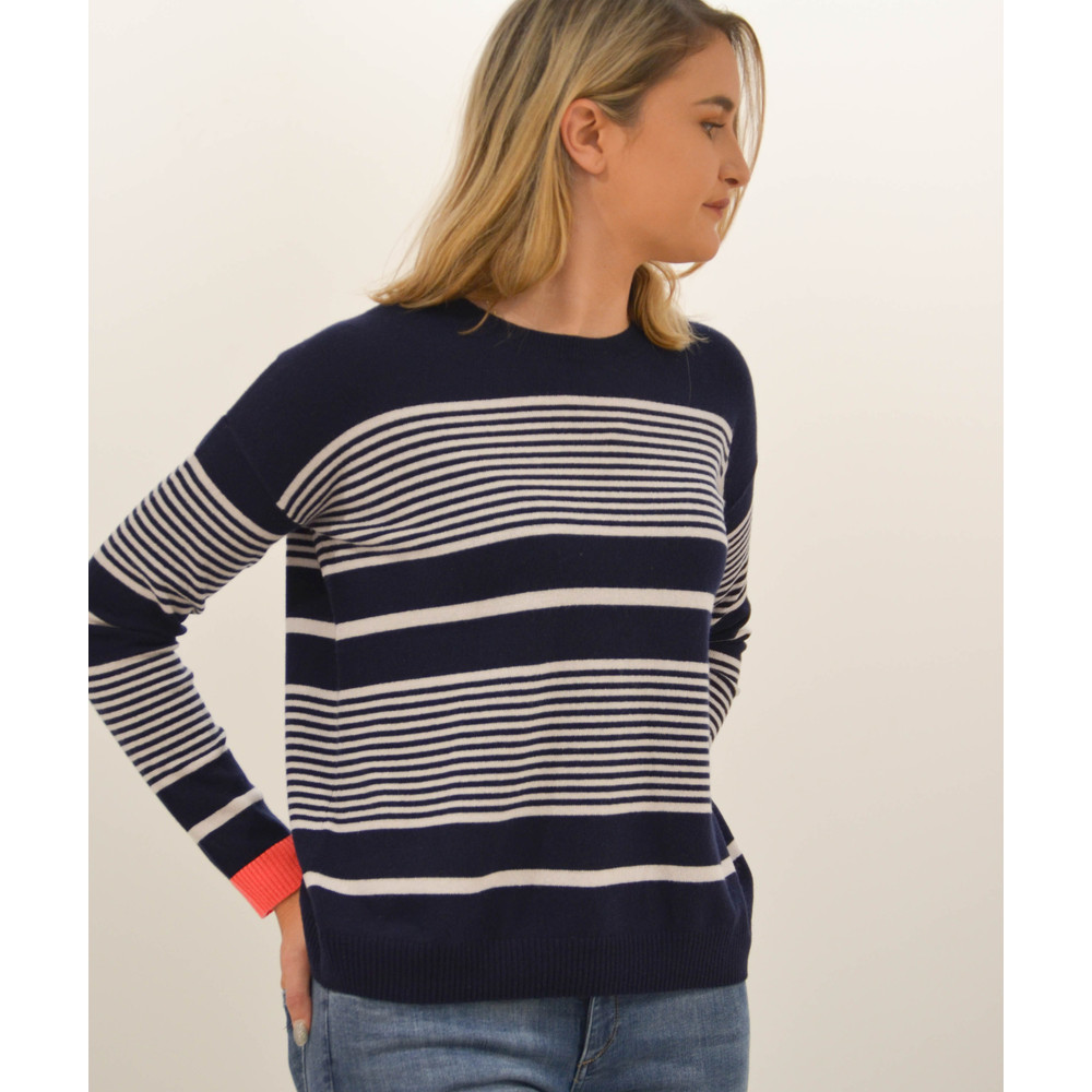 Cocoa Cashmere Boxy Stripe Sweater Navy/Alabaster/Chili