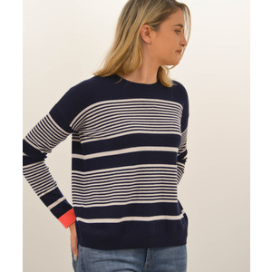 Boxy Stripe Sweater Navy/Alabaster/Chili