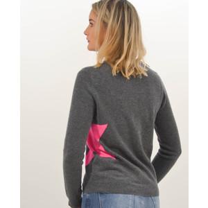 Cocoa Cashmere Single Star Sweater Ash/Dayglow