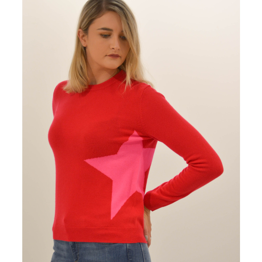 Cocoa Cashmere Single Star Sweater Scarlet/Dayglow