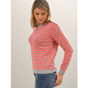 Cocoa Cashmere Striped Star Sweater Grey/Chili