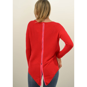 Cocoa Cashmere Ribbed Zip Back Knit Jumper Scarlet/Dayglow