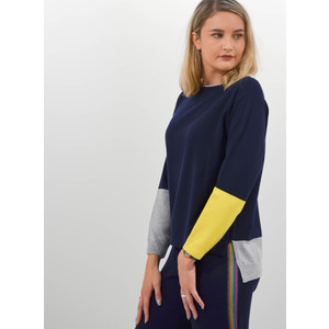 Cocoa Cashmere Colour Block Boxy Knit Jumper Navy Grey Canary