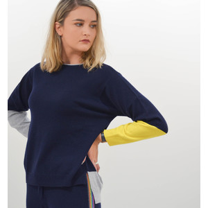 Colour Block Boxy Knit Jumper Navy Grey Canary
