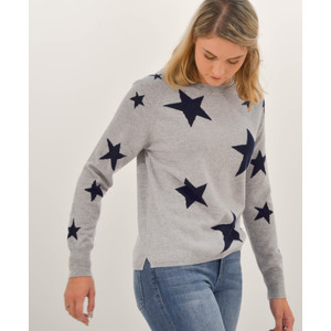 Stars Knit Sweater Grey Navy Dayglow