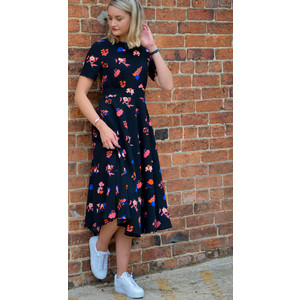Rarker Floral Dress Black/Blue/Red