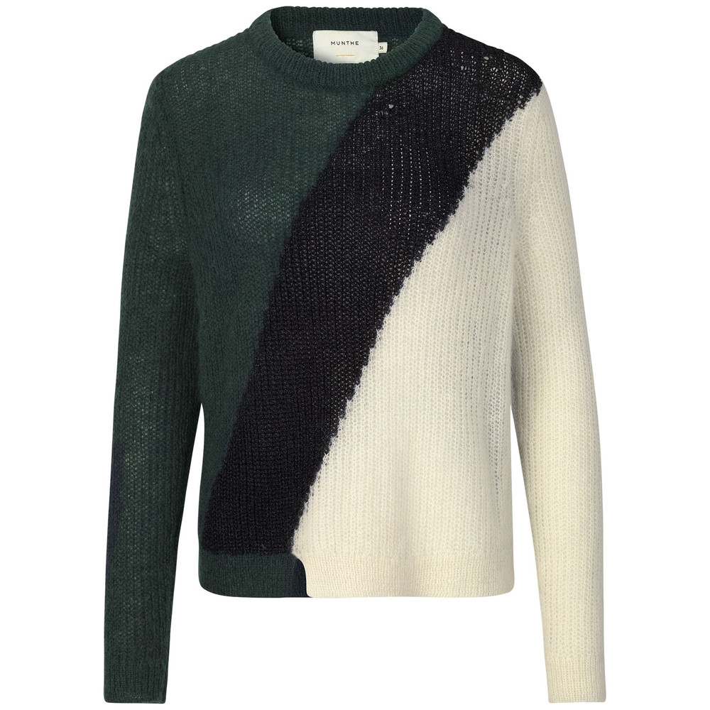 Munthe Voyage Loose Knit Jumper Green/Black