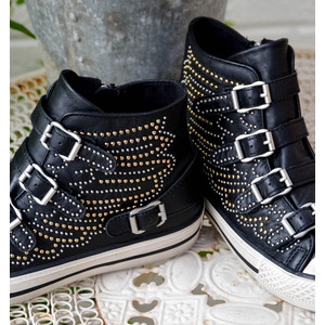 Ash Verso Buckle Trainer with Studded Detail Black/Gold