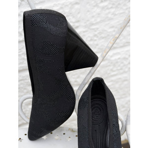 Dream Camo Knit Heeled Shoe Black