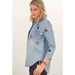 Rembo Jean Shirt Sequin Flowers