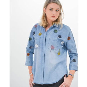 Essentiel Antwerp Rembo Jean Shirt Sequin Flowers Niagara Falls
