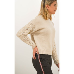 Recall Pearls Cable Knit Jumper Sand Shell