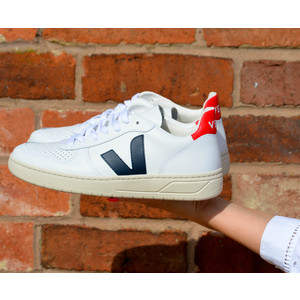 Veja V-10 Leather Trainer Extra White Nautico Pekin White Nautico Pekin