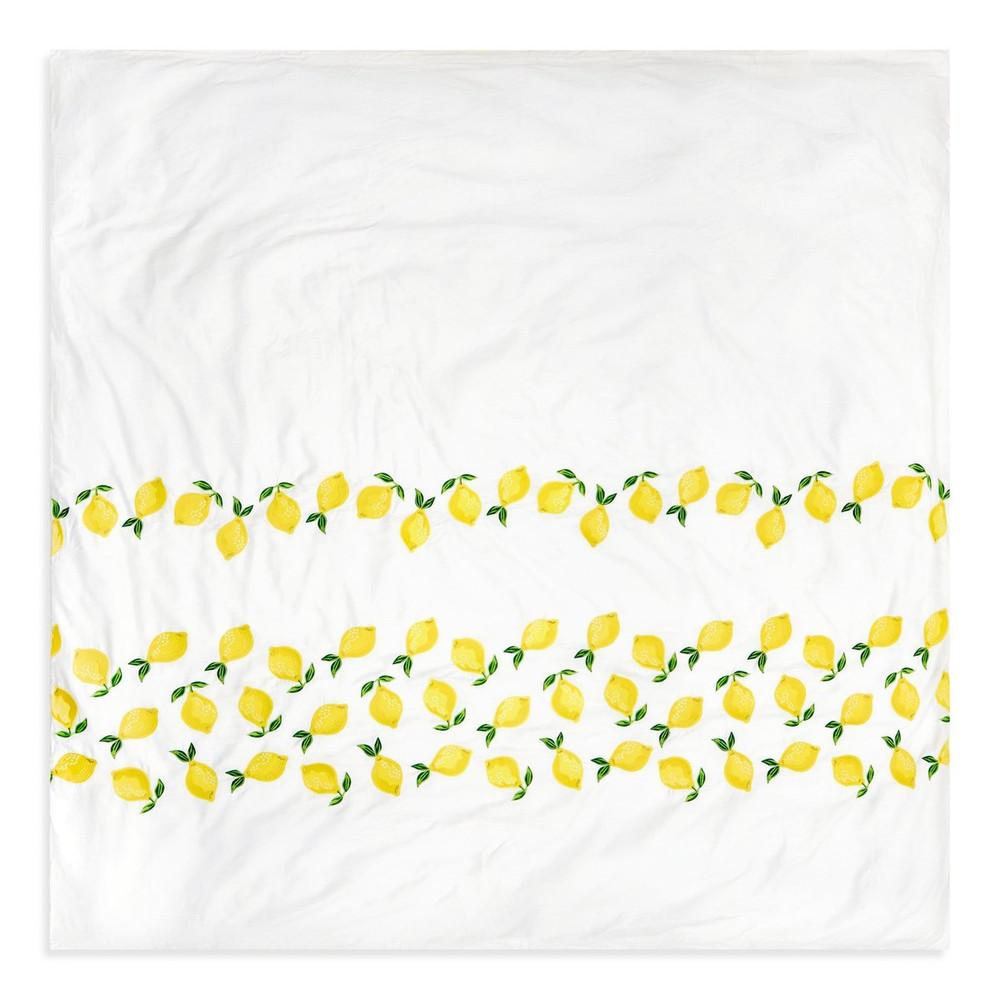 Elizabeth Scarlett Lemon Cotton Duvet Cover - Kingsize White