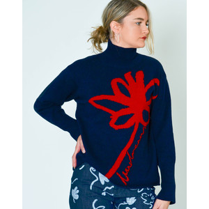 Funnel Neck Flower Knit Jumper Dark Navy/Red