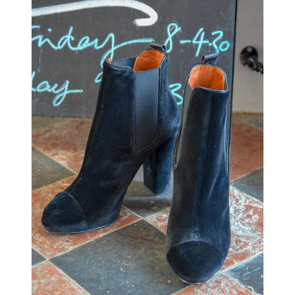 Penelope Chilvers Carmen Velvet Heeled Ankle Boots Black