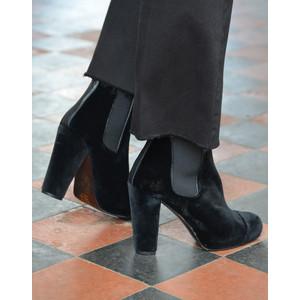 Carmen Velvet Heeled Ankle Boots Black