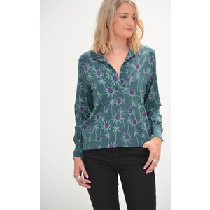 Primrose Park Flo Open Neck Thistle Top Green