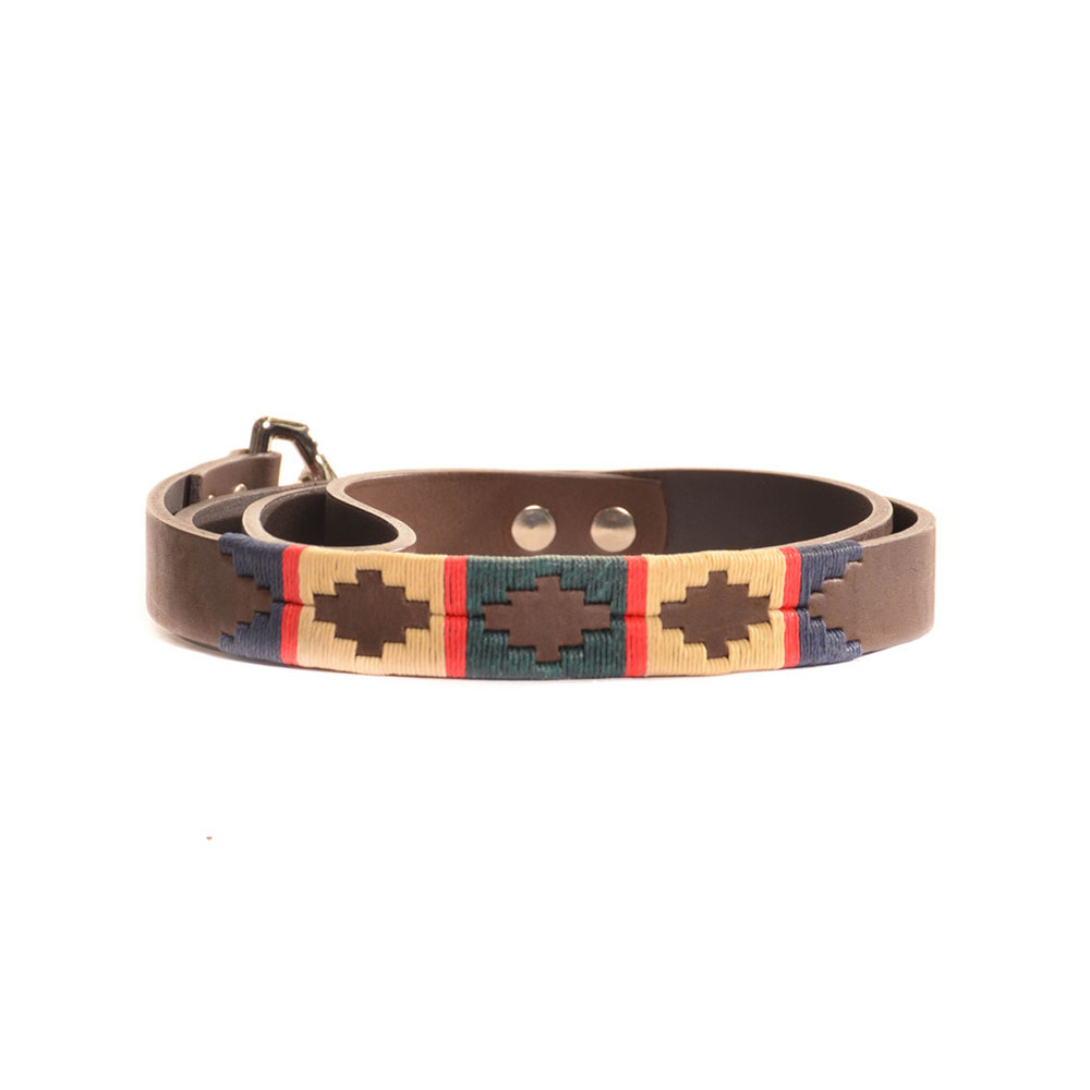 Pioneros Stripe Cross Collar Brown Leather Dog Collar Red