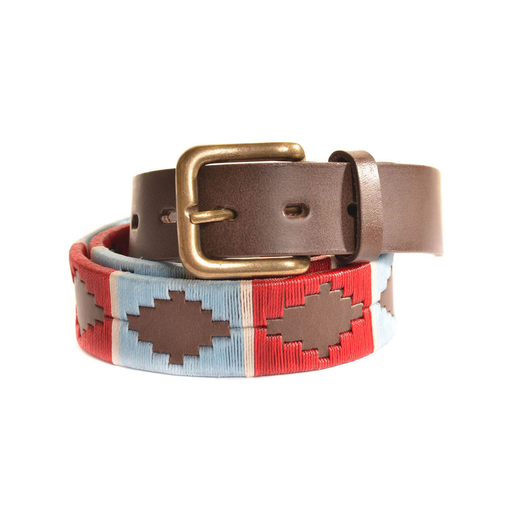 Pioneros Stripe Cross Belt Brown Leather Belt Pale Blue/Red/White