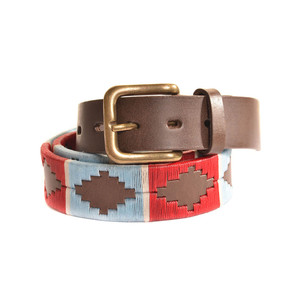 Stripe Cross Belt Brown Leather Belt Pale Blue/Red/White