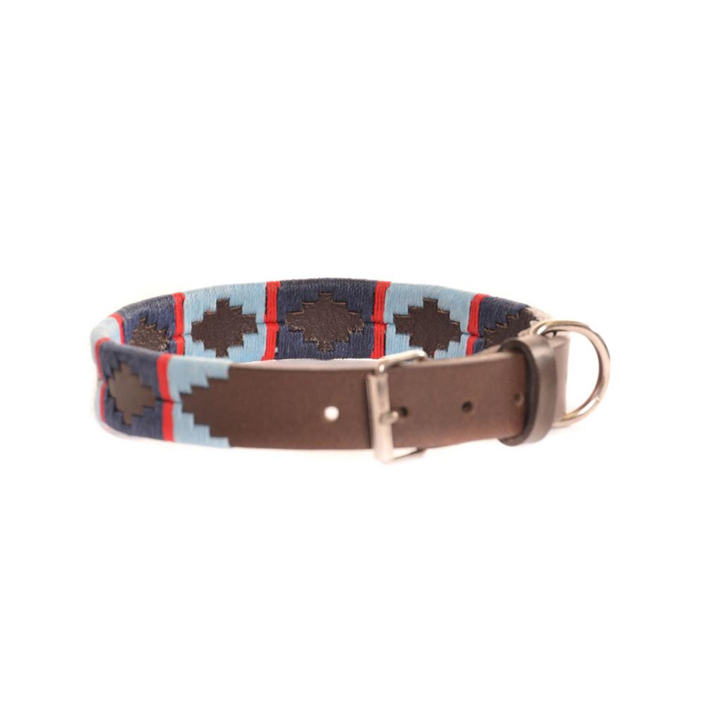 Pioneros Stripe Cross Collar Brown Leather Dog Collar Navy/Pale Blue/Red