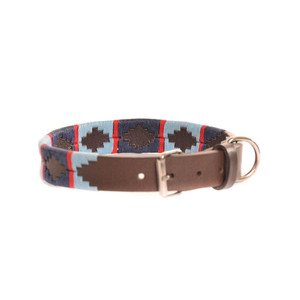 Stripe Cross Collar Brown Leather Dog Collar
