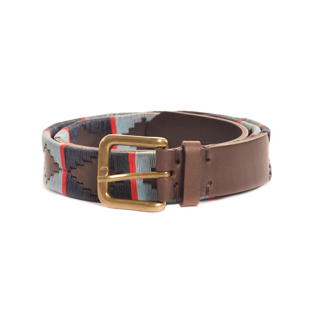 Pioneros Stripe Cross Belt Brown Leather Belt Navy/Pale Blue/Red
