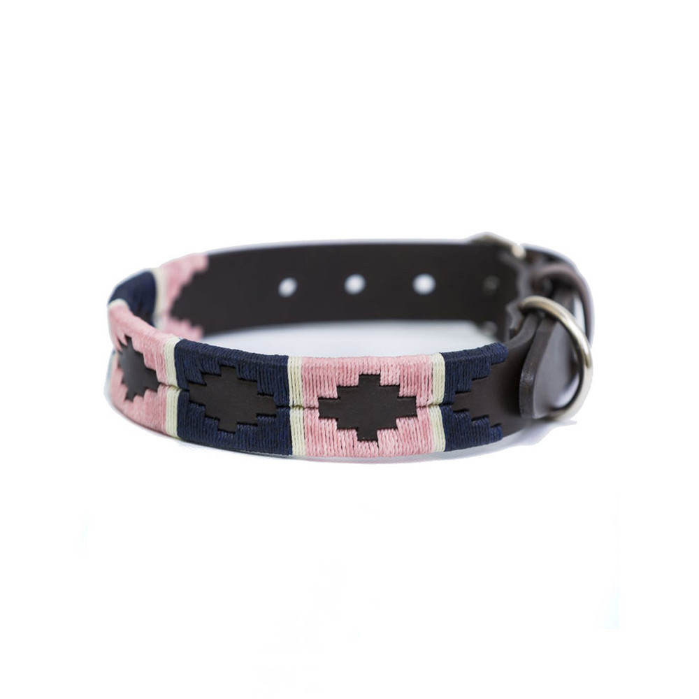 Pioneros Stripe Brown Leather Dog Collar Pink/Navy/White Stripe