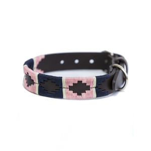 Stripe Brown Leather Dog Collar Pink/Navy/White Stripe