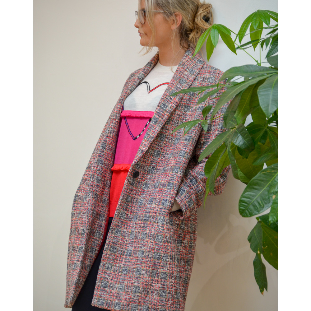 Paul Smith Womens Cocoon Tweed Coat Red/Blue/Black