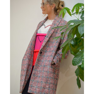 Cocoon Tweed Coat  Red/Blue/Black